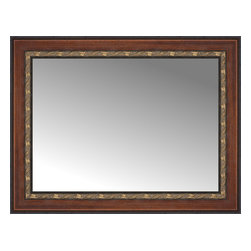 """Posters 2 Prints, LLC - 32"""" x 25"""" Malabar Walnut Custom Framed Mirror - 32"""" x 25"""" Custom Framed Mirror made by Posters 2 Prints. Standard glass with unrivaled selection of crafted mirror frames.  Protected with category II safety backing to keep glass fragments together should the mirror be accidentally broken.  Safe arrival guaranteed.  Made in the United States of America"""