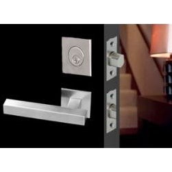 Modern entry sets - This modern European design features a square contemporary keyed lock and designer square handle. Smooth brushed satin stainless steel enhances this piece for the utmost in chic design.