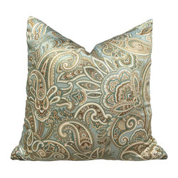 PillowFever - Paisley Cotton Pillow Cover in Cucumber - This beautiful cotton pillow cover has multiple colors: off white, brown, light green, beige, dark green. It has satin finish.