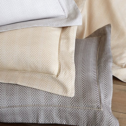 Corsica Shams- Standard - Gold - A crisp satin-stitched edge detail adds a tailored tone to the Corsica Sham's flange, a design element which alludes to the menswear roots of the upscale pillow cover's herringbone weave. Yet the final effect is a perfect mingling of the attractively polished with the invitingly soft. This timeless textile is woven from pure Egyptian cotton for an elegant, relaxed feel.