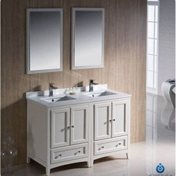"Fresca - Fresca Oxford 48"" Traditional Double Sink Bathroom Vanity - Antique White - Fresca's Oxford collection is just what you have been looking for. Solid construction with wonderful soft-close dovetail drawers. Available in the rich finishes of Espresso, Antique White and Mahogany. All of the vanities in the Oxford line come with seamless Quartz Stone Countertop and Backsplash. Many faucet styles to choose from. Bring the clean lines of the Oxford from Fresca into your home for many years of enjoyment. Features Antique White Finish Solid Wood Frame, MDF Panels Quartz Stone Countertop Ceramic Undermount Sinks with Overflow Single Hole Faucet Mounts (Faucets Shown In Picture May No Longer Be Available So Please Check Compatible Faucet List) 4 Soft Close Doors 2 Soft Close Dovetail Drawers Seamless Countertop with Matching Backsplash Mirrors Included P-trap, Faucets, Pop-Up Drains and Installation Hardware Included How to handle your counterInstallation Guide"