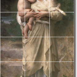 Picture-Tiles, LLC - Le Jeune Bergere Tile Mural By William Bouguereau - * MURAL SIZE: 48x24 inch tile mural using (18) 8x8 ceramic tiles-satin finish.