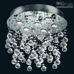 Evrosvet Modern 7-Light Crystal Glass Flush-Mounted Rain Chandelier
