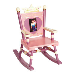 "Levels of Discovery - Princess Mini Rocker - Hand-painted in pink, purple and cream with gold accents Crown backrest with 4"" x 6"" photo frame to honor the tiny princess Special Message: Always a Princess  Special understamp beneath the seat that the customer can personalize with the child's name, the name of the gift-giver and the special occasion when the chair was received A photo greeting card is included so the child can say THANK YOU in a memorable wayPhoto frame. Special message. Understamp beneath seat for personalization. Photo greeting card included. All chairs have a ""personalizable"" understamp"