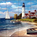 The Tile Mural Store (USA) - Tile Mural - Sailing The Safe Harbor  - Kitchen Backsplash Ideas - This beautiful artwork by T.C. Chiu has been digitally reproduced for tiles and depicts a Lighthouse with a boat on the beach.  Our lighthouse tile murals and nautical themed decorative tiles are perfect as part of your kitchen backsplash tile project or your tub and shower surround bathroom tile project. Lighthouse images on tiles add a unique element to your tiling project and are a great kitchen backsplash idea. Use a lighthouse scene tile mural for a wall tile project in any room in your home where you want to add interest to a plain field of wall tile.