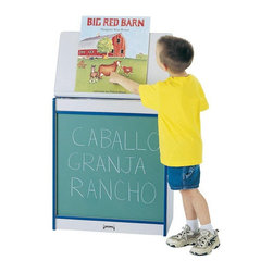 Rainbow Accents - Jonti-Craft Rainbow Accents Big Book Childrens Easel - 0542JCWW003 - Shop for Art Easels from Hayneedle.com! The Jonti-Craft Rainbow Accents Big Book Childrens Easel is a great multi-functional piece for children's rooms playrooms or classroom settings. The cabinet lid can be propped open to create an easel for displaying books artwork charts maps and more. The lower portion of the cabinet features your choice of finish in the front: green chalkboard black chalkboard write-n-wipe magnetic write-n-wipe or flannel. The back of the cabinet features vertical storage shelves for large format books or music albums. A handy storage shelf above makes space for markers chalk erasers or other supplies. This easel cabinet is caster-mounted for easy portablitly and is made of grey laminate with your choice of accent color.About Jonti-CraftFamily-owned and -operated out of Wabasso Minn. Jonti-Craft is a leading provider of quality furniture for the early learning market. It offers a wide selection of creatively designed products in both wood and laminate materials. Its products are packed with features that make them safe functional and affordable. Jonti-Craft products are built using the strongest construction techniques available to ensure that your furniture purchase will last a lifetime.