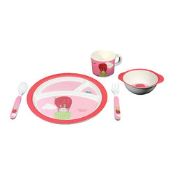 Bamboo Studio - Bamboo Studio Bamboo Kids 5-Piece Pink Balloon - Up, up and away! Make mealtime a high-flying adventure with this hot air balloon-adorned dishware set. Ecofriendly, durable and dishwasher safe with a design that simply soars, it's sure to become a favorite at your dinner table.