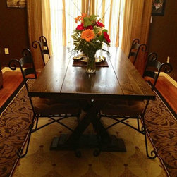 6ft Trestle Dining Table - 6ft trestle dining table in dark walnut stain. Built by hand from solid wood.