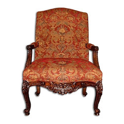 EuroLux Home - New Accent Tall Back Chair Red Rococo Fabric - Product Details