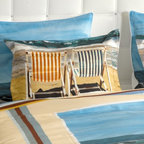 "ARTnBED - Beach Duvet Cover Set - ""Chairs on the Beach"" - We rest so well at the beach - Is it the fresh air? The sound of the waves? The salt on our lips?"
