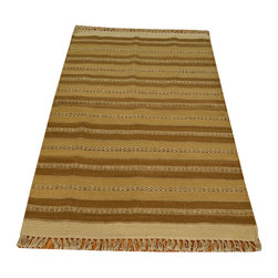 Area Rug, 100% Wool Striped Durie Kilim 3'X5' Hand Woven Rug SH13775 - Soumaks & Kilims are prominent Flat Woven Rugs.  Flat Woven Rugs are made by weaving wool onto a foundation of cotton warps on the loom.  The unique trait about these thin rugs is that they're reversible.  Pillows and Blankets can be made from Soumas & Kilims.