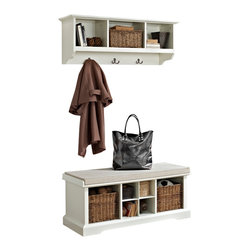 Crosley - Brennan 2-Piece Entryway Bench and Shelf Set, White - Organize your entryway with a sophisticated bench set that's built to last. This cubby bench has several slots for storing shoes and other small items, and also makes for a comfortable seat. Included baskets allow for storage of scarves, gloves, and hats while adding a beautiful touch to your entryway. The matching wall unit features open shelves for storing hats and the like. Four hooks are perfect for hanging a family of coats and jackets.
