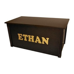Wood Creations Espresso Finish Cookie Lettering Toy Box - Give your child a lasting treasure with our Personalized Toy Box. This beautiful box is made from a solid birch frame with birch veneer paneling and finished in espresso. A satin finish clear topcoat provides a durable shine that stands up to everyday use and helps protect the wood from moisture and wear and tear. This toy box features a safety-hinged lid which stands open at any height and will not slam closed so your child can use it safely.Personalize your toy box with up to 10 letters in your choice of charming fonts. The letters are made from solid maple cutouts that measure 4 inches high and are centered across the front of the toy box. Your choice of upper and lower case letters. The Personalized Toy Box is a handcrafted treasure that will spell out your love for years to come.Assembly Required. The Personalized Toy Box comes ready to assemble and requires a regular and Phillips screwdriver.About Wood CreationsWood Creations Inc. a family-owned business produces handcrafted toyboxes and blanket chests in Bismarck North Dakota U.S.A. Wood Creations also offers manufactured toyboxes which have some of the same great personalization features as the handcrafted toyboxes at a more affordable price. Committed to customer satisfaction Wood Creations' toyboxes and blanket chests are heirloom quality and built to last a lifetime.
