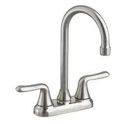 "American Standard - American Standard 2475.500.075 Colony Soft Bar Sink Faucet, Stainless Steel. - American Standard 2475.500.075 Colony Soft Bar Sink Faucet, Stainless Steel. This 2-handle bar faucet features a 1/4 turn washerless ceramic disc valve cartridge, a durable cast brass waterway with 1/2"" male inlet shanks, a brass swing spout, a metal deck plate, and a 2.2 GPM flow rate."