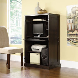 "Sauder - Desk Armoire - Like product from our collections, this piece is quality-build and loaded with features to meet your unique needs. Features: -Computer armoire.-Space-saving cabinet.-Slide-out keyboard/mouse shelf features metal runners and safety stops.-Dedicated storage area accommodates vertical CPU tower.-Three adjustable shelves.-Made in USA.-Distressed: No.-Country of Manufacture: United States.-Desk Type: Desk Armoire.-Top Finish: Cinnamon Cherry.-Base Finish: Cinnamon Cherry.-Accent Finish: Cinnamon Cherry.-Powder Coated Finish: No.-Gloss Finish: No.-UV Finish: No.-Top Material : Engineered wood.-Base Material: Engineered wood.-Hardware Material: Metal.-Edge Detail: Molding.-Non-Toxic: Yes.-Water Resistant: No.-Stain Resistant: Yes.-Heat Resistant: Yes.-Style: Transitional.-Design: Rectangular.-Hardware Finish: Nickel.-Collection: Miscellaneous Office.-Eco-Friendly: Yes.-Cable Management: Yes.-Keyboard Tray: Yes.-Height Adjustable: No.-Drawers Included: No.-Pencil Drawer: No.-Jewelry Tray: No.-Exterior Shelving : No.-Cabinets Included: Yes -Number of Cabinets: 1.-Number of Interior Shelves: 6.-Adjustable Interior Shelving: Yes.-Soft-Close Cabinets: Yes.-Locking Cabinet: No..-Ergonomic Design: No.-Handedness: both.-Scratch Resistant: Yes.-Chair Included: No.-Legs Included: No.-Hutch Included: No.-Treadmill Included: No.-Cork Back Panel: No.-Modesty Panel : No.-CPU Storage: Yes.-Built In Outlet: No.-Built In Surge Protector: No.-Light Included: No.-Finished Back: No.-Tipping Prevention: No.-Modular: No.-Lifestage: Teen-adult.-Commercial Use: No.-Product Care: Wipe with damp cloth.-Swatch Available: Yes.-Recycled Content: Yes -Remanufactured/Refurbished : No..Specifications: -FSC Certified: Yes.-EPP Certified: Yes.-CARB Compliant: Yes.-ISTA 3A Certified: Yes.-Green Guard Certified: No.-ANSI BIFMA Certified: No.-SCS Certified: No.Dimensions: -Overall Product Weight: 115 lbs.-Overall Height - Top to Bottom: 51.89"".-Overall Width - Side to Side: 31.5"".-Overall Depth - Front to Back: 19.45"".-Desk Return: No.-Credenza: No.-Bridge: No.-Cabinet: Yes.-Drawer: No.-Shelving: Yes.-Seat: No.-Knee Space Height: 22.88"".-Hutch : No.-Legs: No.Assembly: -Assembly required.-Assembly Required: Yes.-Tools Needed: Phillips screwdriver and hammer.-Additional Parts Required: No.Warranty: -Manufacturer provides five years warranty.-Product Warranty: 5 years."