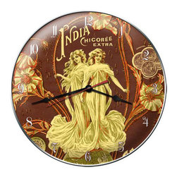The Vintage Sign Store - India Coffee Clock - India Coffee Vintage Metal Clock French Kitchen Cafe 14 X 14 Steel Not Tin. This India Coffee clock measures 14 inches by 14 inches and weighs in at 3 lb(s). This clock is hand made in the USA using heavy gauge american steel and a process known as sublimation, where the image is baked into a powder coating for a durable and long lasting finish. This clock includes an American made quartz clock movement (requires one AA battery) for years of accurate time keeping and is covered with a clear acrylic lens.
