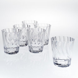 Frontgate - Set of Six Swirl Double Old Fashioned Glasses - Drinkware in clear and assorted colors; dinnerware and serving pieces in clear only. Eliminates the worry of glass outdoors or on a pool deck. Top-rack dishwasher safe. Our Swirl Drinkware boasts a crystal-clear appearance, break-resistant construction, and fresh design, making it perfect for pool parties and outdoor entertaining. The shatter-resistant acrylic remains beautifully vibrant for years, resisting clouding, scratching and splitting.  .  .  .