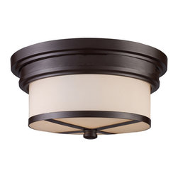 Elk Lighting - Elk Lighting 15025/2 Flush Mount 2-Light in Oiled Bronze - 2-Light in Oiled Bronze belongs to Flushmount Collection by The Flush Mounts Collection Exhibits The Same Beautiful Detailing As A Chandelier, But In A Smaller Size Suitable For Lower Ceilings And Smaller Spaces. Each Item Has An Attractive Banding On Top With White Satin Glass And A Decorative Finial. Choose From Various Styles And Finishes To Match Your decor. Flush Mount (1)