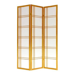 Oriental Unlimted - Honey Finish Double Cross Rice Paper Folding - Screens may vary slightly in color. Screen is a classic design and will blend in with any decor. Use as a room divider or decorative element. Spruce frame, double hinged with rice paper panels. A wide variety of colors and sizes make this our most versatile screen. Lacquered brass, two-way hinges mean you can bend the panels in either direction. Our new stands are available in all six standard finishes and can be used with any of our three, four, five or six panel screens to allow them to stand upright freely without any bending. 3 panel screen measures approx. 53 in. wide flat, approx. 45 in. wide with panels folded to stand upright (as shown). Honey finish. Available in different colors. 17.5 in. W x 0.75 in. D x 69.5 in. H (Each panel)