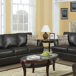 Chocolate Brown Bonded Leather 897 Collection 2 PC Sofa Set - Create a cozy space in your living room with this plushy furnished Chocolate Brown Bonded Leather 897 Collection 2 PC Sofa Set (Sofa and Loveseat). The extra padded arms add the perfect touch for your absolute comfort. Deep cushioned seats with detailed stitching will keep you cozy. Offering enough space for you to relax, set includes accent pillows in a camel dew drop color coordinated fabric to accentuate the elegance.