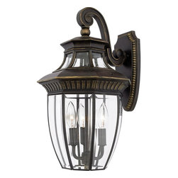 Quoizel - Quoizel GT8981IB Georgetown Traditional Outdoor Wall Sconce - Several clear beveled glass panels are held within a cast aluminum structure, creating a timeless design that coordinates with most any architectural style.