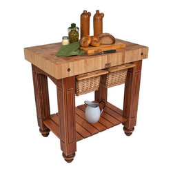 """John Boos - American Heritage Gathering Prep Table with Butcher Block Top - Features: -Proudly made in the USA.-4'' Thick end-grain work surface.-Sliding wicker basket(s) accessible from either side.-Slatted lower storage shelf.-Solid hard rock maple construction.-Cream finish with beeswax.-American Heritage collection.-Please Note: John Boos products with a varnique finish require a John Boos cutting board during food preparation to prevent damage to the finish.-Product Type: Kitchen island/prep table.-Collection: American Heritage.-Base Finish: Solid American black.-Counter Finish: Solid hard rock maple, boos block cream with beeswax finish.-Hardware Finish: Zinc coated.-Distressed: No.-Powder Coated Finish: No.-Gloss Finish: No.-Base Material: Solid American black walnut.-Counter Material: Hard rock maple.-Solid Wood Construction: Yes.-Stain Resistant: No.-Warp Resistant: No.-Exterior Shelves: Yes -Number of Exterior Shelves: 1..-Drawers Included (Size: 25"""" W x 24"""" D): Yes.-Drawers Included (Size: 36"""" W x 24"""" D): Yes.-Drawers Included (Size: 48"""" W x 24"""" D): Yes -Number of Drawers: 1.-Number of Drawers: 2.-Number of Drawers: 3.-Push Through Drawer: Yes.-Push Through Drawer: Yes.-Push Through Drawer: Yes.-Drawer Glide Extension: Yes.-Drawer Glide Extension: Yes.-Drawer Glide Extension: Yes.-Dovetail Joints: No.-Dovetail Joints: No.-Dovetail Joints: No.-Drawer Dividers: No.-Drawer Dividers: No.-Drawer Dividers: No..-Cabinets Included: No.-Number of Baskets (Size: 25"""" W x 24"""" D): 1.-Number of Baskets (Size: 36"""" W x 24"""" D): 2.-Number of Baskets (Size: 48"""" W x 24"""" D): 3.-Towel Rack: No.-Pot Rack: No.-Spice Rack: No.-Cutting Board: Yes.-Drop Leaf: No.-Drain Groove: No.-Trash Bin Compartment: No.-Stools Included: No.-Casters: No.-Wine Rack: No.-Stemware Rack: No.-Cart Handles: No.-Finished Back: Yes.-Commercial Use: Yes.-Recycled Content: No.-Eco-Friendly: No.-Product Care: Wipe with mild soap & water & must oil butcher block top every 2-3 weeks.-Country of Manufacture: """
