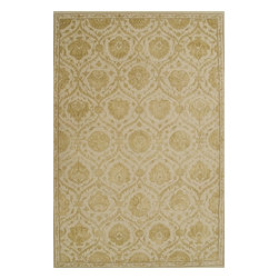 """Nourison - Nourison Regal Sand Oriental 8'6"""" x 11'6"""" Rug by RugLots - Traditional design gets a modern update with bold colors and rich designs. Hand carved for an elegant and highly textural look and feel, these hand crafted area rugs from the Regal Collection by Nourison are interwoven with generous portions of silk for an even more sumptuous feel. This collection stands apart and sets a new standard for design and construction. Add one to any room in your home for instant elegance. 100% New Zealand wool with silk."""
