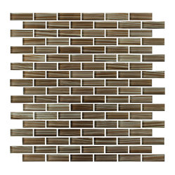 Rocky Point Tile - Creeks Edge Hand-Painted Glass Mosaic Subway Tile - Milk chocolate, caramel and rich cocoa add decadent flavor to your kitchen backsplash without the calories. Pair with cream-colored grout for a truly delicious combination.