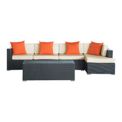"LexMod - Signal 5 Piece Outdoor Patio Sectional Set in Espresso White - Signal 5 Piece Outdoor Patio Sectional Set in Espresso White - Engage adaptivity with the Signal Outdoor Set. Embed your environs with clues for attaining allostasis with an alert orange and white design that focuses your natural acumen. Command success in progressive steps with a piece that neutralizes outside distractions. Set Includes: One - El Outdoor Wicker Patio Chaise Lounge One - El Outdoor Wicker Patio Coffee Table One - El Outdoor Wicker Patio Right Arm Section Two - El Outdoor Wicker Patio Armless Sections For entertaining or everyday use, Powder coated aluminum frame , UV resistant synthetic rattan, Water resistant cushions and base , Easy zipper for cleaning , Easy Assembly Required Overall Product Dimensions: 120""L x 53""W x 25""H Chaise Lounge Dimensions: 30""L x 53""W x 13""H Coffee Table Dimensions: 49""L x 21""W x 17""H Armless Section Dimensions: 30""L x 30""W x 25""H Left Arm Section Dimensions: 30""L x 30""W x 25""H Cushion Depth: 4""H Seat Height: 13""H - Mid Century Modern Furniture."