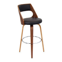 "Lumisource - Cecina Barstool, Walnut/Brown - 18.5""L x 17 W x 41"" H"