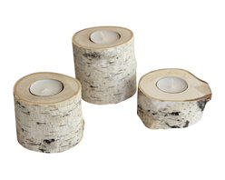 Simply Sofie - Birch Candleholders - We're already imagining our table all perfectly decorated, places set, and lights dimmed with these amazing candles as the glowing centerpiece.
