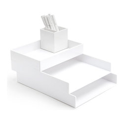 Poppin - Desktop Set, White - Bundle includes: White Letter Trays; White Accessory Tray; White Pen Cup; 1 box White Signature Ballpoints