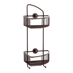 "no drilling required. - Corner Shower Caddy - no drilling required - 100% Rustproof, Atlas Bronze - 100% rustproof construction and includes the patented German made no drilling mounting system. The mounting system installs without any tools, no measuring and carries a Lifetime Replacement Warranty. Designed for use on tile, stone, glass, metal, wood, concrete, brick and plastics. The system is also removable if needed and is ideal for renters, remodels and to remove before you move! 9-1/4"" Shelf Spacing, 100% Rustproof Solid brass construction, nie wieder bohren no drill mounting hardware included, installs in minutes"