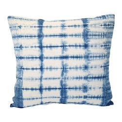 Acapillow - Shibori Indigo Pillow - Indigo Shibori hand-dyed linen pillow with linen back and zipper closure.  Care:  Dry-clean only.  Handmade in Santa Monica, California.