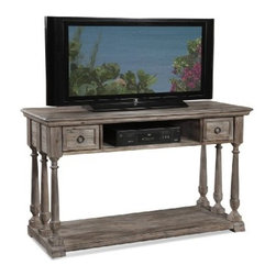 "Basett Mirror - Pemberton Entertainment Console - The Pemberton Entertainment Console Table (Barnside Finish) has the following features: Manufactured by Bassett Mirror. Part of the Pemberton Collection. Made of wood in a brown finish. One of our rustic-styled media cabinets that will work in almost any room. Dimensions: 54"" x 19"" x 36"" H. Weight: 50 lbs."