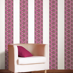 """Very Berry Stripes Set of Wall Decals - Very Berry features fun paisley with a 60's retro vibe! This pack contains four Very Berry Stripes, each stripe is 12' long and 6.5"""" wide (48' of stripe total). WallPops are repositionable and always removable!"""