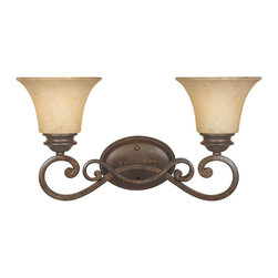 Designers Fountain - Designers Fountain Mendocino Traditional Wall Sconce X-NSF-20818 - Keep your design simple yet elegant with this Designers Fountain Mendocino Traditional Wall Sconce. It features attractive, double scrolled arms in a forged sienna finish that support two warm amber glaze glass shades. This beautiful piece will surely add a touch of style to your decor as it casts a warm and natural hue of light.