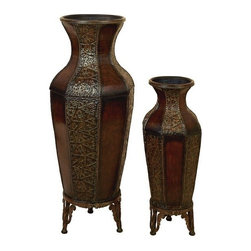 "Benzara - Set of 2 Spanish Courtyard Metal Flower Vases W Stands 46"" - Set of 2 Spanish Courtyard Metal Flower Vases W Stands 46"". Great for any Classic Steel modern home decor. Dimension: Tall 46"" H x 19"" L x 13"" W and small 33"" H x 14"" L x 8"" W. Floral decor not included."