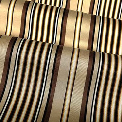 Scale Stripe Fabric in Brown - Scale Stripe Fabric in Brown is a cotton blend with a stripe pattern in shades of tan and brown. Ideal for light upholstery projects, pillows, and window treatments. This fabric passes 15,000 double rubs abrasion and CA 117 and UFAC II fire ratings. Cleaning Code: S; Width: 54″; Repeat: 6 3/6″w Vertical Stripe