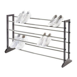 """Home Decorators Collection - 4-Tier Wood Shoe Rack - Create all the shoe storage you require with our 4-Tier Wood Shoe Rack. This freestanding, stackable rack expands horizontally, offering room for up to 16 pairs of shoes. Wood in espresso finish. Expandable metal poles in grey finish. Width adjusts from 22""""-42.75"""". Fits up to 16 pairs of shoes. Freestanding and stackable. Easy assembly."""