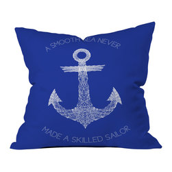 DENY Designs - Fimbis Smooth Sea Outdoor Throw Pillow - Do you hear that noise? it's your outdoor area begging for a facelift and what better way to turn up the chic than with our outdoor throw pillow collection? Made from water and mildew proof woven polyester, our indoor/outdoor throw pillow is the perfect way to add some vibrance and character to your boring outdoor furniture while giving the rain a run for its money. Custom printed in the USA for every order.