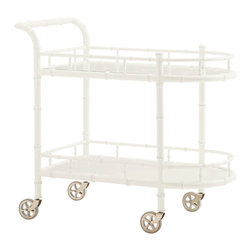 Lexington - Lexington Ivory Key Warwick Tea Cart 543-862 - The top surface is glass over metal decorative fretwork while the lower shelf is wood. Both are surrounded by a bamboo inspired gallery rail to get items from slipping off during transport. The rubber tread casters ensure a smooth ride.