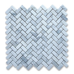 "Stone Center Corp - Calacatta Gold Marble Herringbone Mosaic Tile 5/8 x 1 1/4 Honed - Calacatta gold marble 5/8"" x 1 1/4"" pieces mounted on 12"" x 12"" sturdy mesh tile sheet"