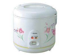 Zojirushi - Zojirushi NS-RNC18 Automatic Rice Cooker and Warmer, 10 cup - Your dumplings steam and your rice will cook fluffy and perfect every time in Zojirushi's 10-cup rice cooker. It operates by a single switch control and comes with a keep warm setting in case it is ready before you are. The lid locks tightly to hold in moisture and the nonstick interior offers quick cleanup. The Zojirushi automatic rice cooker has a cool-touch exterior, a built-in retractable cord and comes with a spatula, spatula holder and measuring cup. With a little extra preparation, you can make brown rice with this versatile rice maker from Zojirushi.