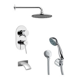Remer - Polished Chrome Sleek Tub and Shower Faucet Set with Handheld Shower - Multi function tub and shower faucet.