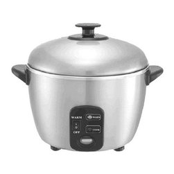 SPT Appliance - 6 Cups Rice Cooker - 100 % stainless steel inner pot and cover. Easy one-button operation. Automatic shut-off and independent warm switch. Cooks with steam to maintain nutrients. Saves upto 18% in energy costs. ETL. Capacity: 6 cups/1.1 liters. Input voltage: 120 V/60 Hz. Power consumption: 120 watts for warm and 820 watts for cooking. Stainless steel grade: 430. 9.37 in. L x 9.84 in. W x 12 in. H (5 lbs.). Warranty: One yearThis stainless steel rice cooker and steamer offers multi-functional cooking options: cooks rice and porridge, stews soup, steams vegetables, fish and poultry, and much more - all with a simple touch of a button. Cooks with steam to maintain nutrients for a healthy lifestyle. No non-stick coating. Note: With this unit, the amount of water in the cooker determines the cooking time, you may add more if desired, but at least 1 cup of water must be placed in the cooker before starting the cooking cycle.