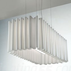 Axo - Skirt SP 140 suspension light - The Skirt SP 140 suspension light collection has a curtain lampshade. The fabric, TREVIRA® CS, is fireproof and composed of two overlapping layers, an exterior black net with an interior fabric available in 9 colours: orange, red, fuchsia, dark brown, blue, light blue, light green, light grey, neutral white. Also available in one-layer fabric in the same 9 colours, without the black net.