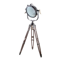Four Hands - Sunset Mariner Tripod Light - Put your eclectic style in the spotlight — literally! Taking a cue from essential filmdom gear, this ingenious piece, made of a mix of metals, lets you shed illumination in a bright new way.