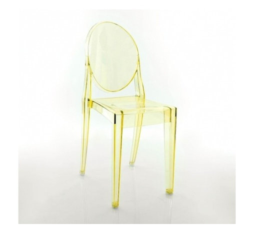 Kartell - Victoria Ghost Chair, Set of 2, Transparent Yellow - Lighten up your look with this modern interpretation of a classic Louis XV chair. The medallion-shaped backrest and linear seat are cast in clear polycarbonate, giving it a transparent, almost ghost-like appearance. It's a sleek, sophisticated seating option that sits well in practically any setting — indoors or out.