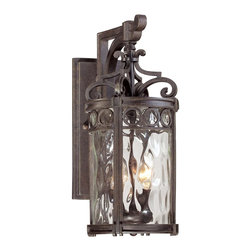 Minka Lavery - Minka Lavery Outdoor 9222-256 Regal Bay 2 Light Wall Sconce - Mouth Blown Clear Hammered Glass Shade